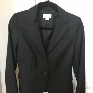LOFT Black Suit Set Blazer Skirt Lined Size 2